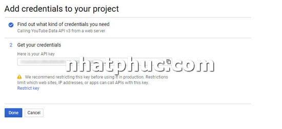 Cách lấy YouTube API để gắn vào trang web khi cần 7