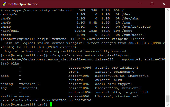 Cách thêm (extend) dung lượng vào ổ cứng trên CentOS 7