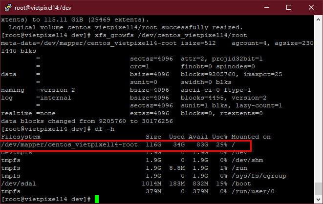 Cách thêm (extend) dung lượng vào ổ cứng trên CentOS 8