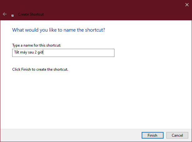 Tạo hẹn giờ chạy lệnh tắt máy tính trên màn hình desktop 2