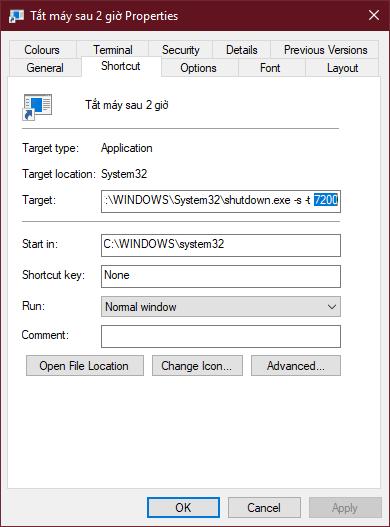 Tạo hẹn giờ chạy lệnh tắt máy tính trên màn hình desktop 3