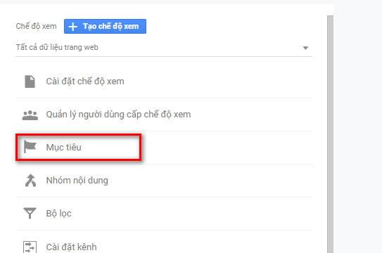Thiết lập mục tiêu trong Google Analytics