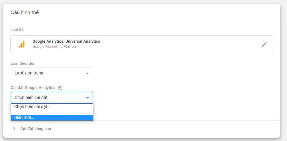 Tạo biến mới trong Google Tag Manager