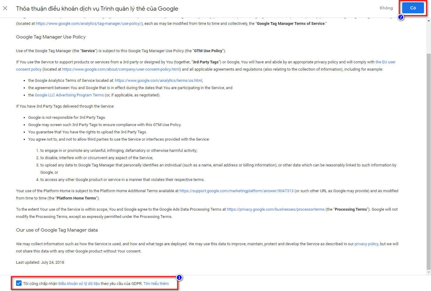 Điều khoản sử dụng Google Tag Manager