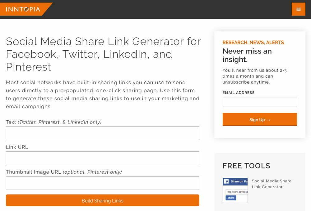 Social Media Share Link Generator