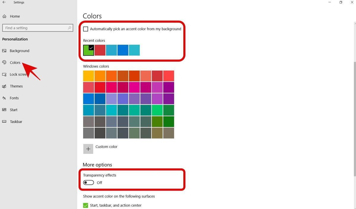 Thay đổi màu sắc Windows 10