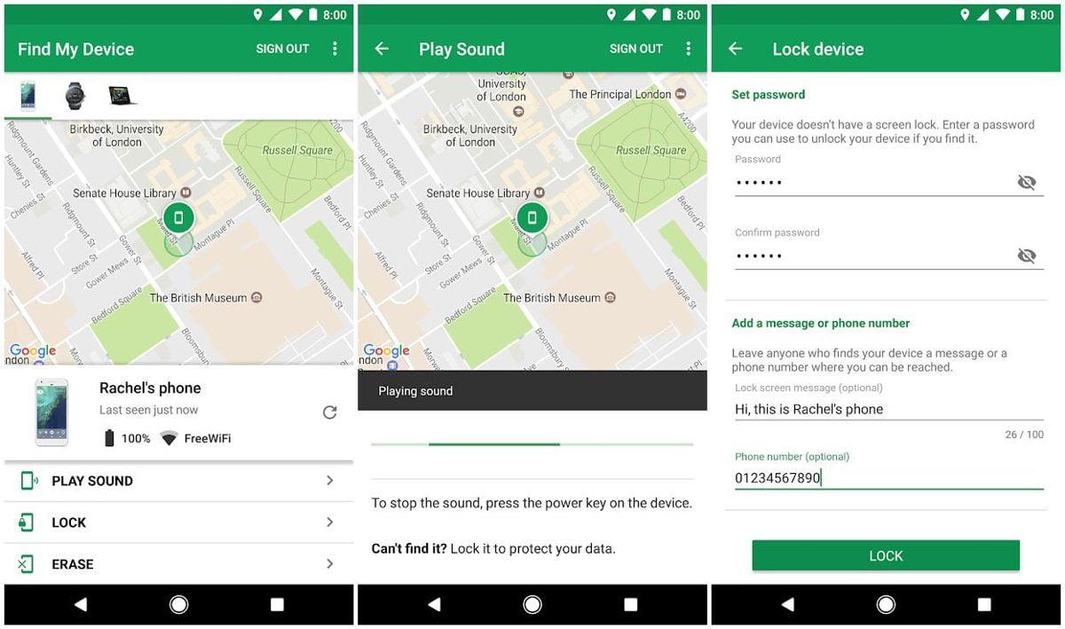 Thiết lập tùy chọn theo dõi và xóa từ xa trên Android