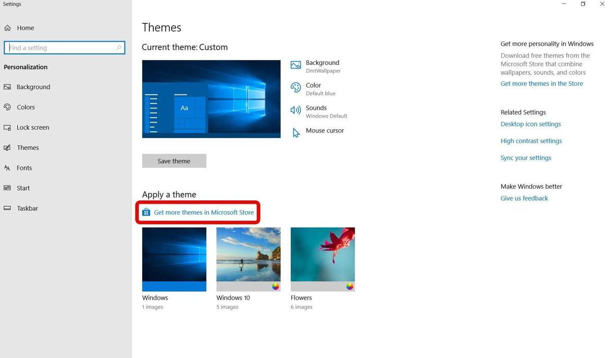 Tải theme từ Microsoft Store
