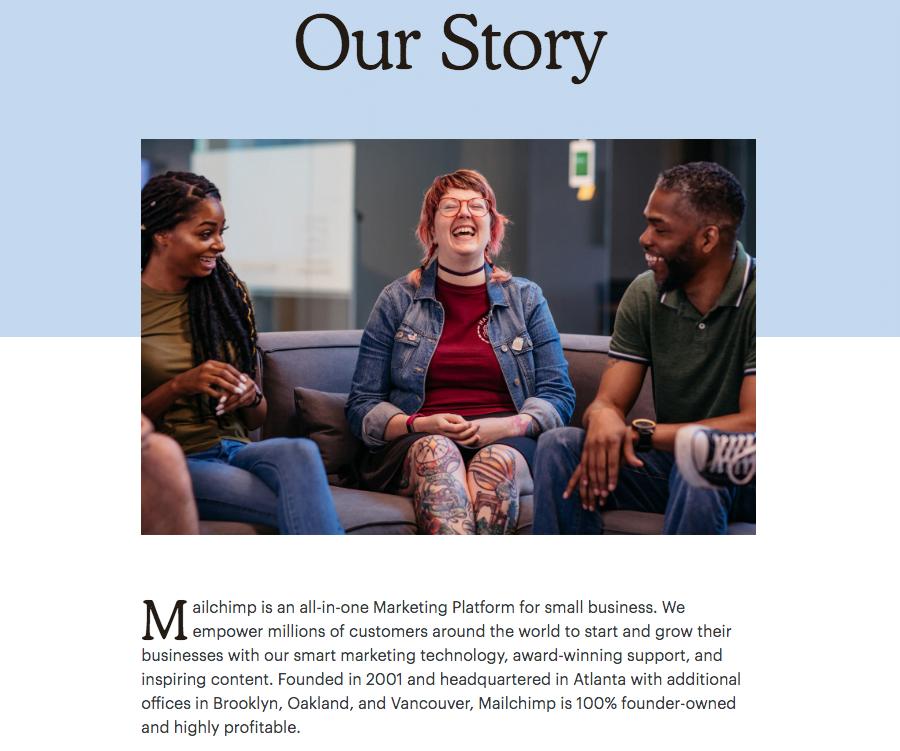 Trang Giới thiệu về chúng tôi của MailChimp