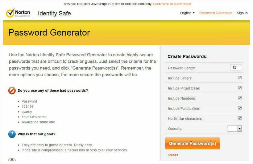 trình tạo mật khẩu Norton