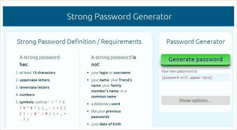 trình tạo mật khẩu mạnh