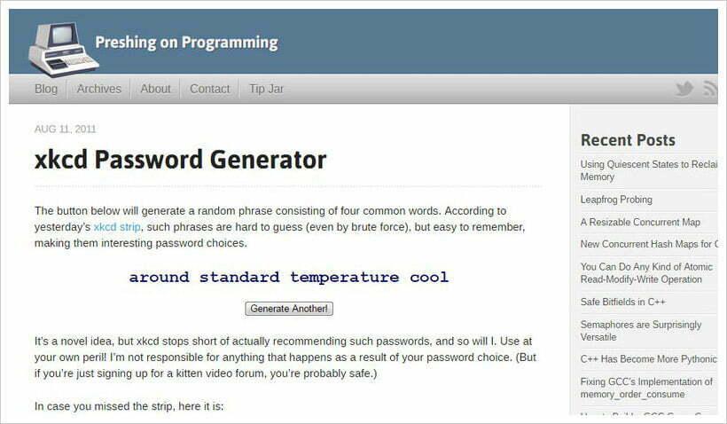trình tạo mật khẩu xkcd