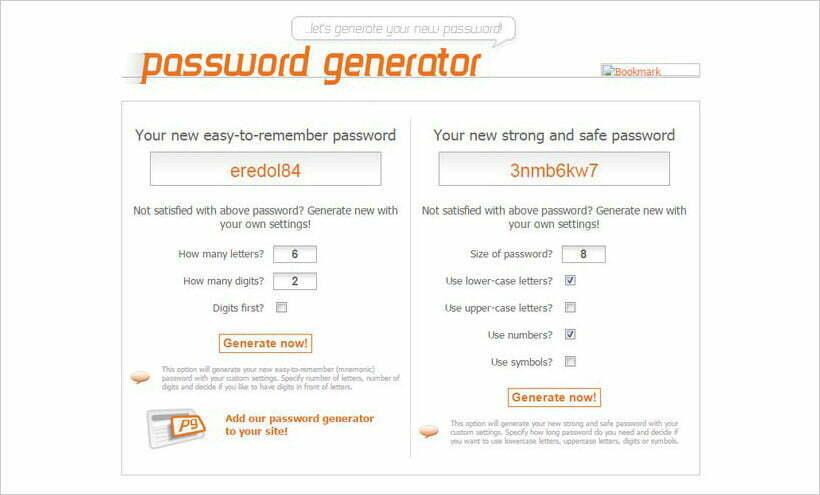 trình tạo mật khẩu webpagefx