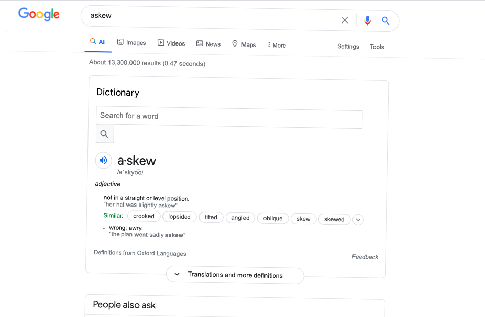 How to trigger this Easter Egg: Type [askew] into Google.