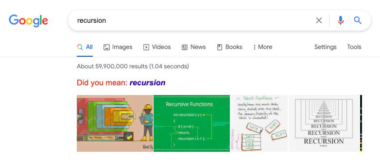 26. Recursion Easter Egg on Google