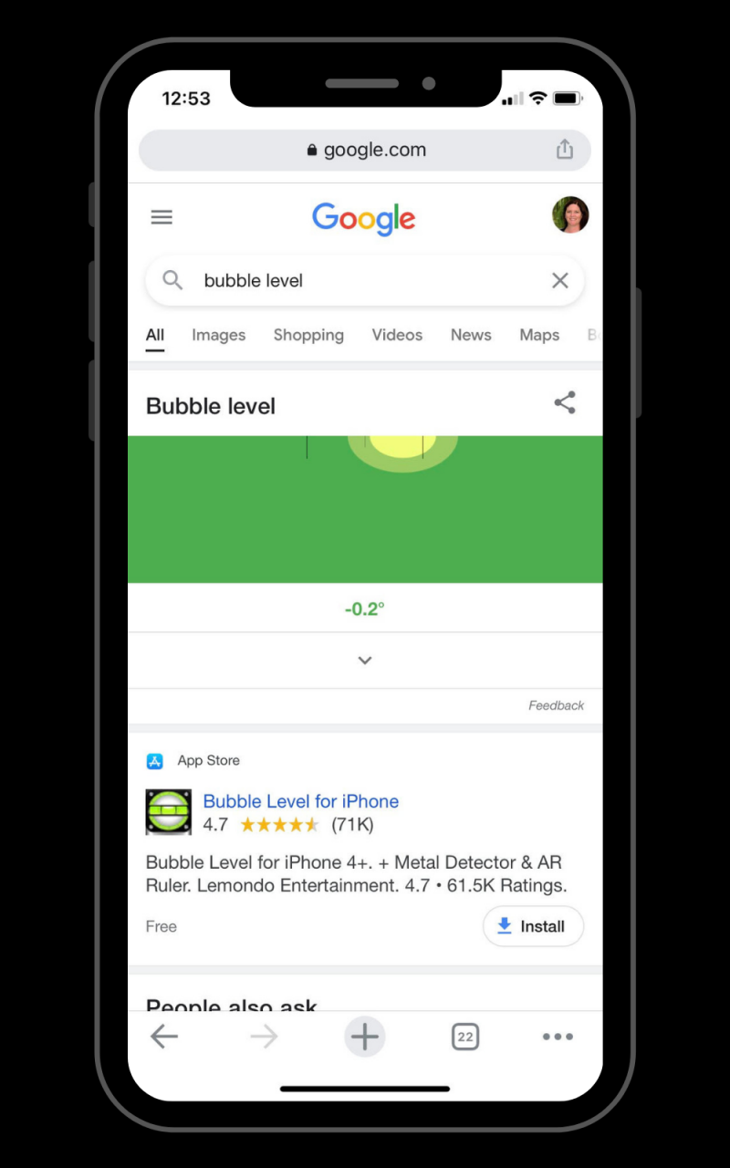 The bubble level Easter Egg on Google (mobile only).