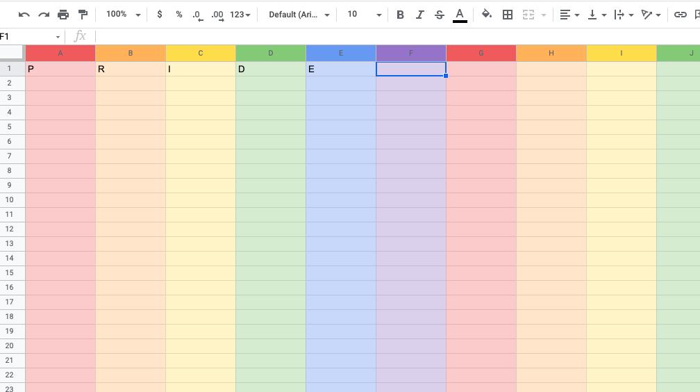 PRIDE in Google Sheets