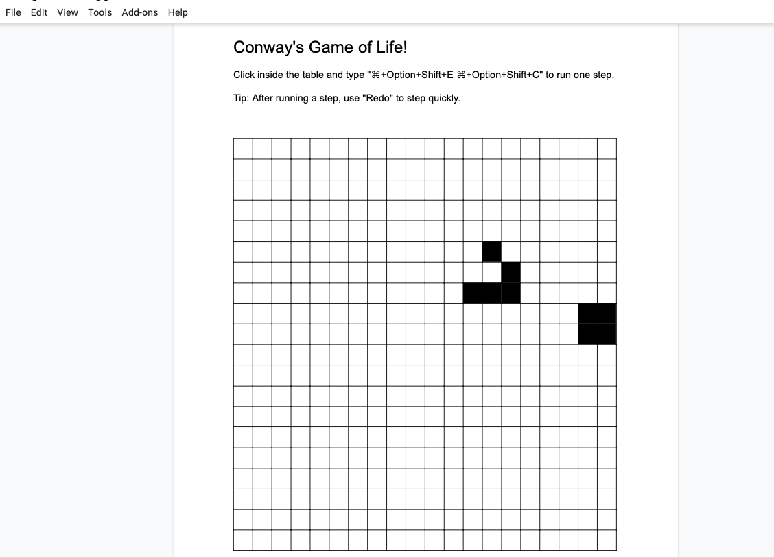 Conways Game of Life Google Docs