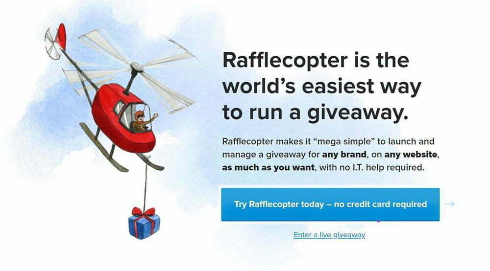 Rafflecopter giúp chạy quà tặng và khuyến mãi