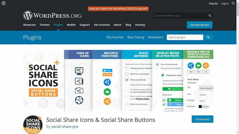 Biểu tượng Chia sẻ Xã hội giúp tạo và hiển thị thanh công cụ chia sẻ