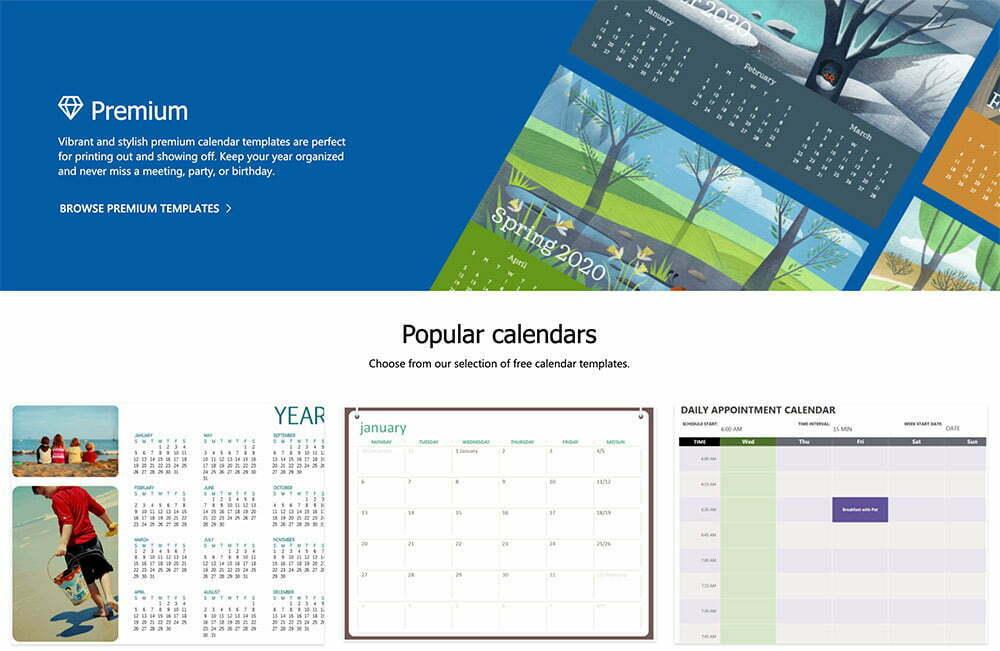 MS Office Calendar Templates