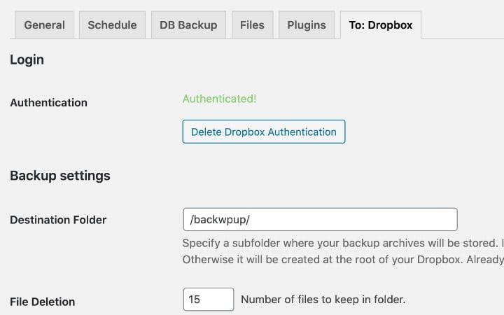 Cách sao lưu trang web WordPress vào Dropbox 2
