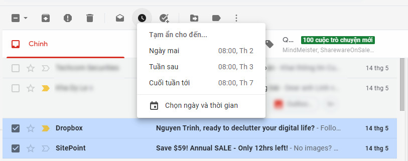 Tạm ẩn email trong Gmail