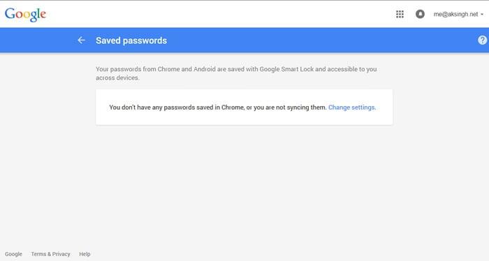 mật khẩu đã lưu của google