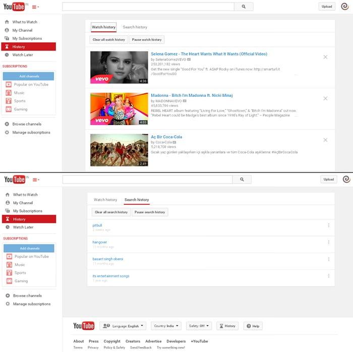lịch sử tìm kiếm trên youtube