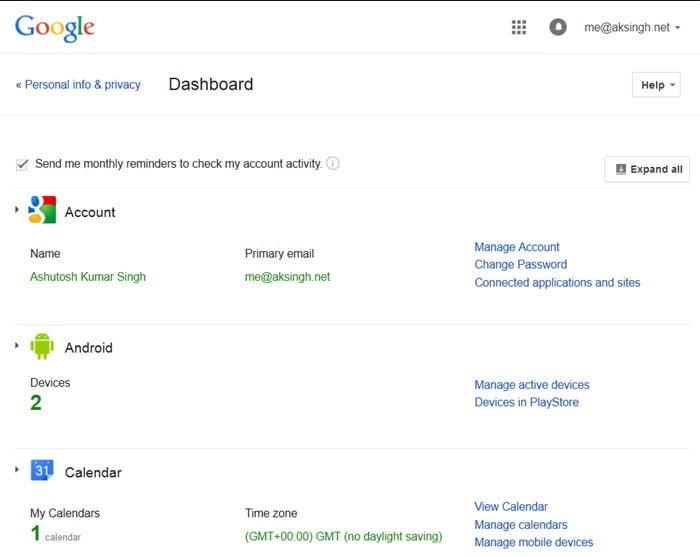 bảng điều khiển google