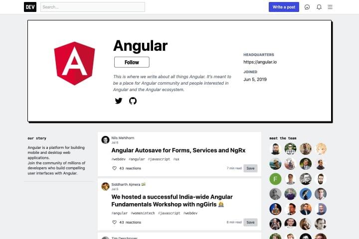 Danh sách bài viết Angular trên dev.to trong hình chữ nhật