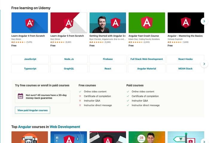 Danh sách các khóa học Angular miễn phí trên trang web Udemy
