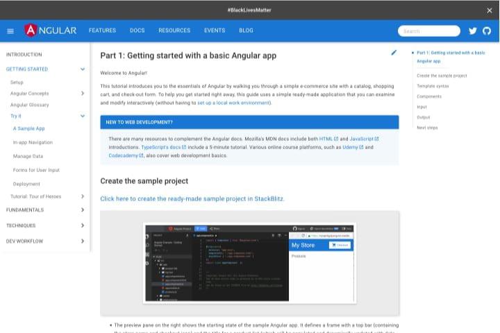 Trang chủ hướng dẫn Angular với bảng nội dung ở bên trái