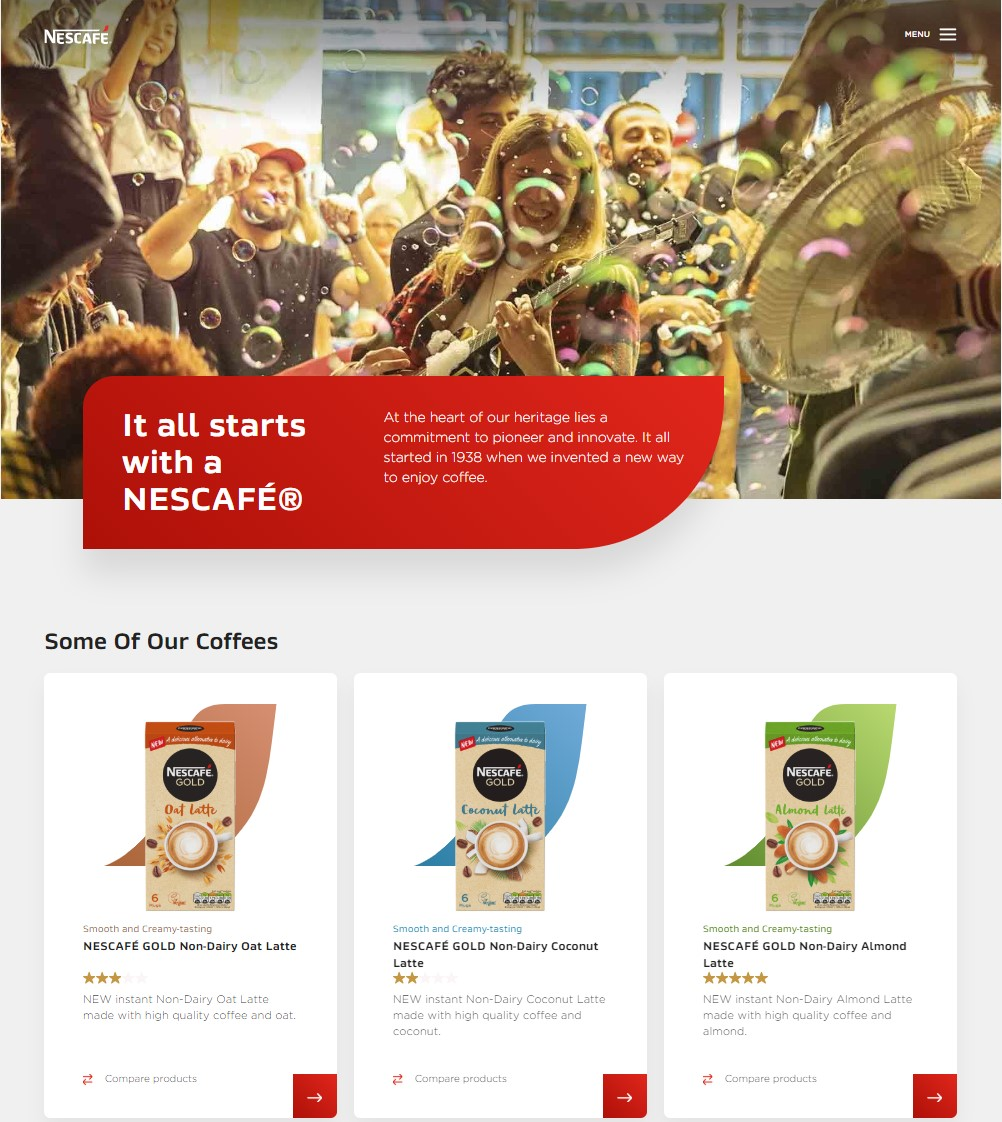 Nescafe home page