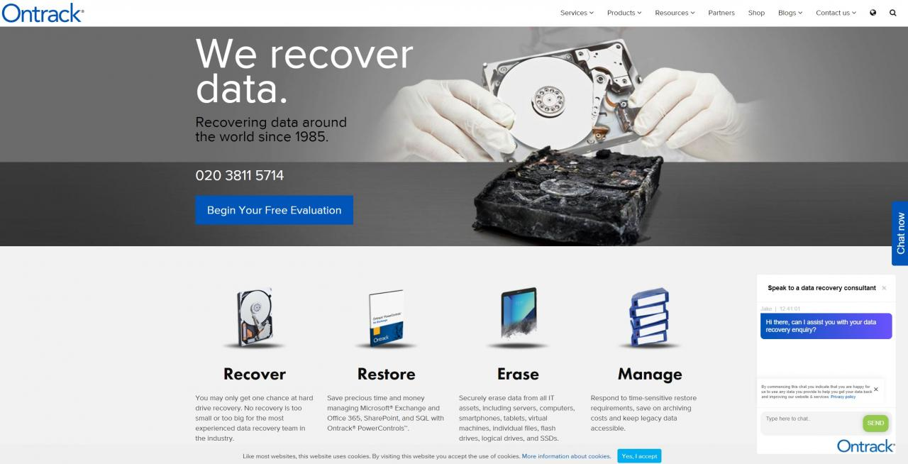 Ontrack home page