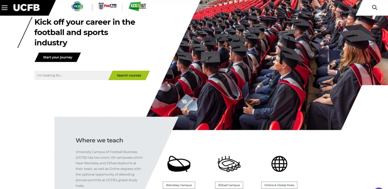 UCFB home page example