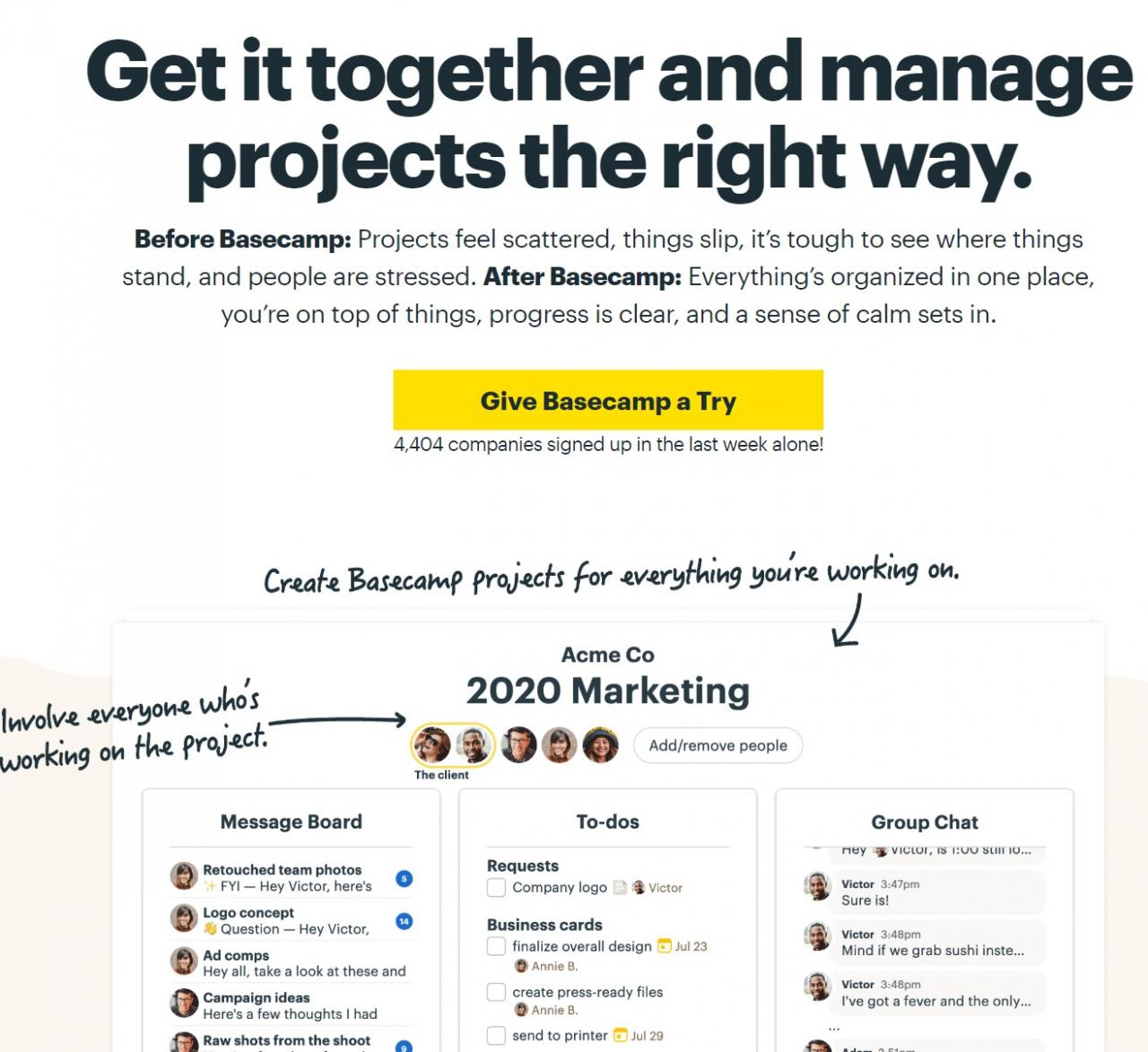 Basecamp home page example