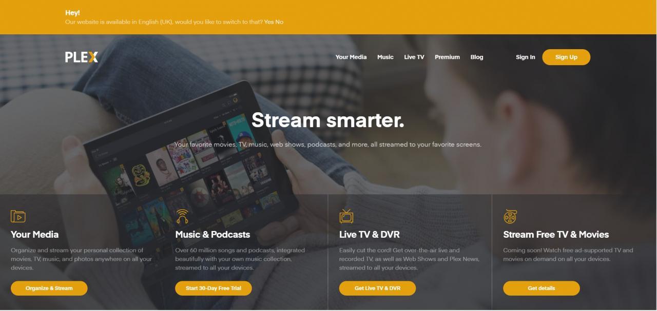 plex tv home page