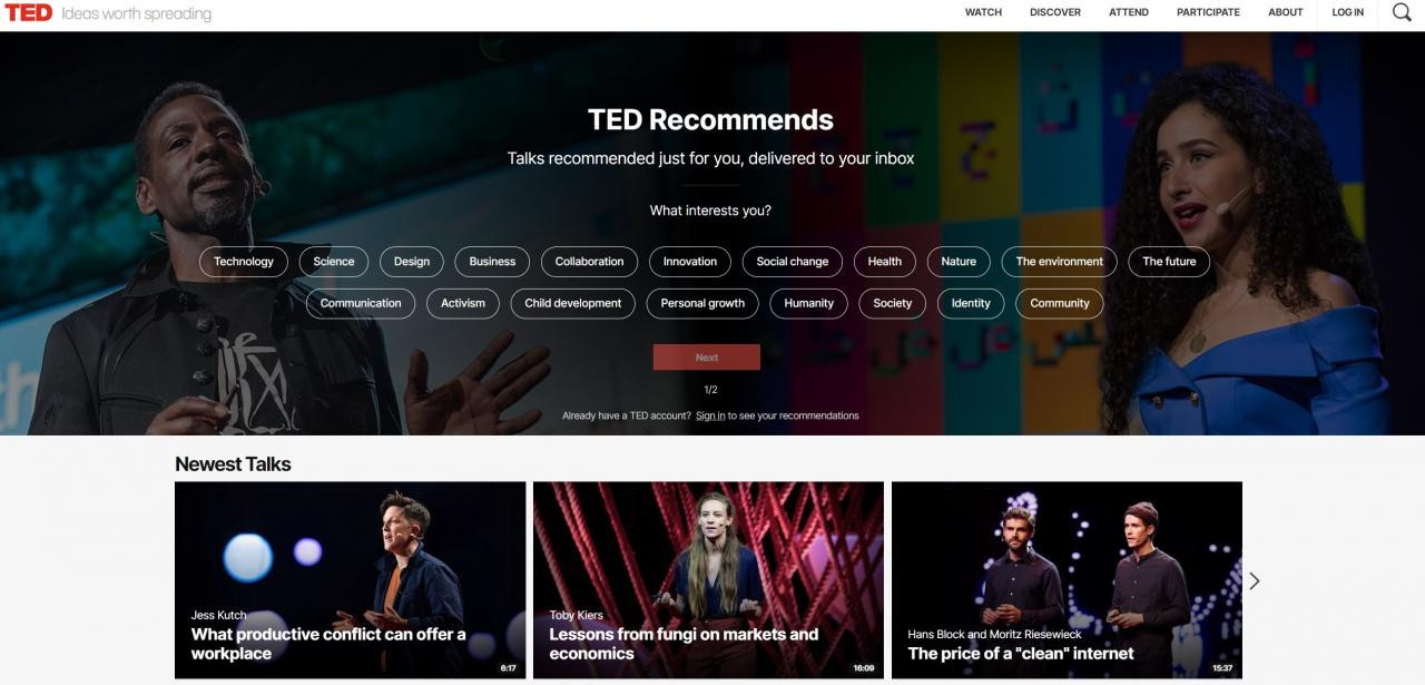 TED home page example
