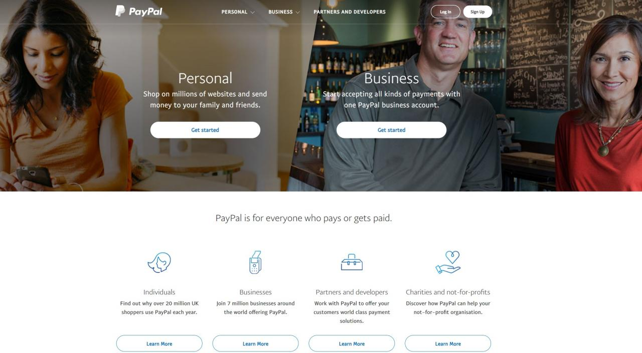 PayPal home page example
