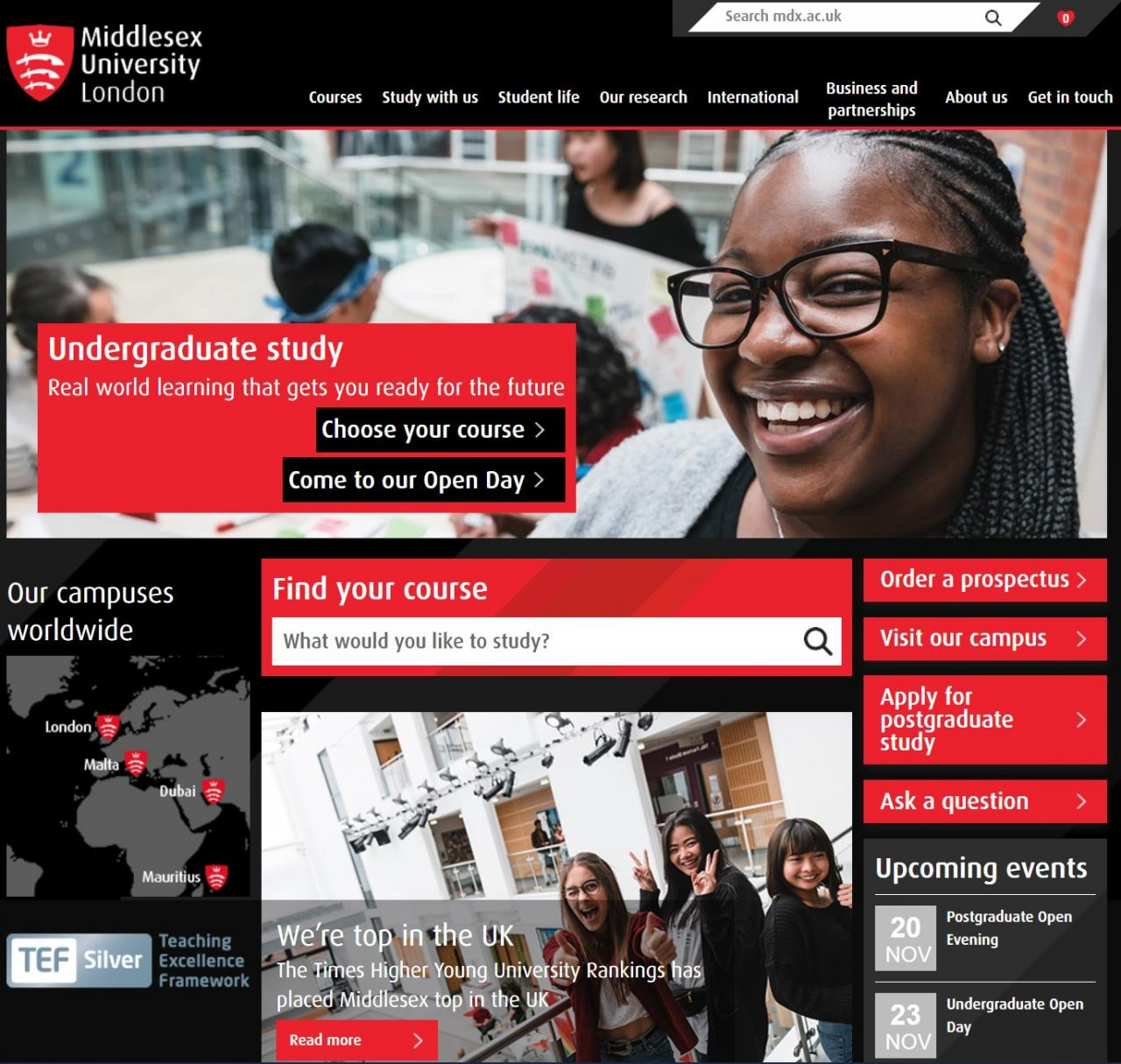 Middlesex university London home page