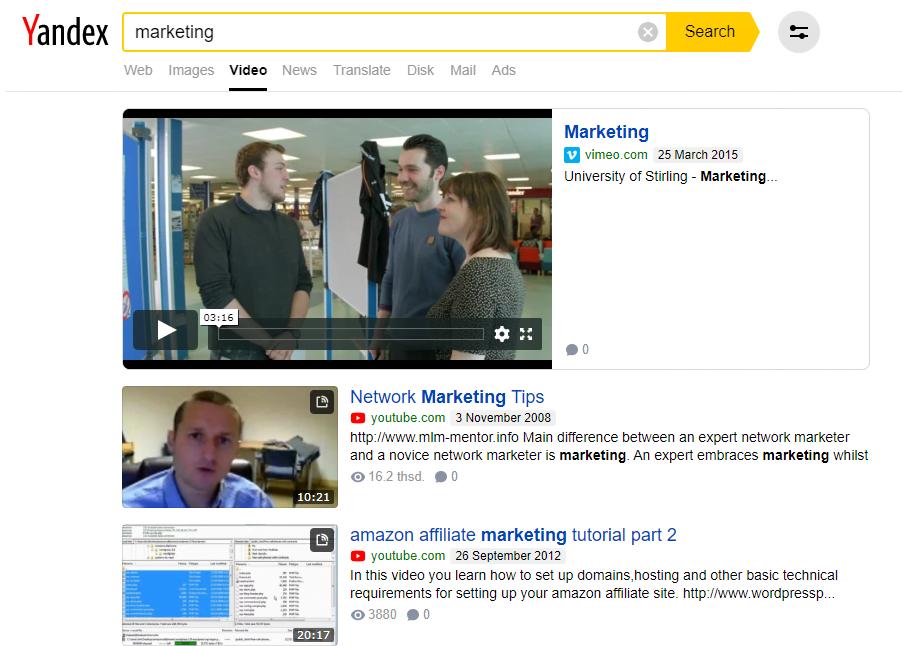 Công cụ tìm kiếm video tiếng Nga Yandex