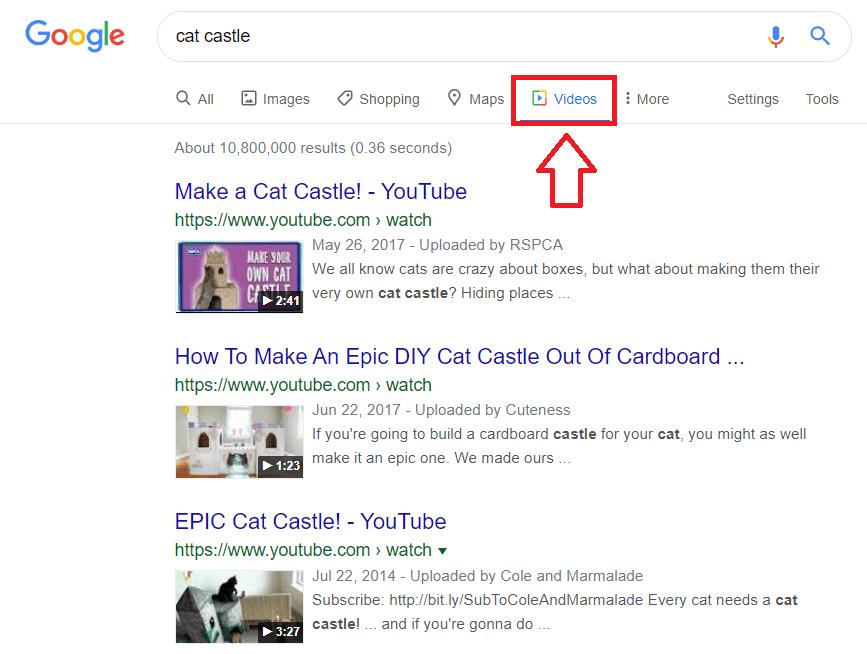 Tìm kiếm video trên Google