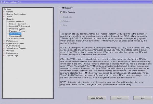 Bật TPM 2.0 trong BIOS