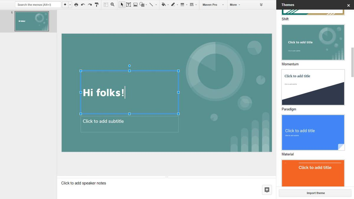 Chỉnh sửa trang tổng quan của Google Trang trình bày