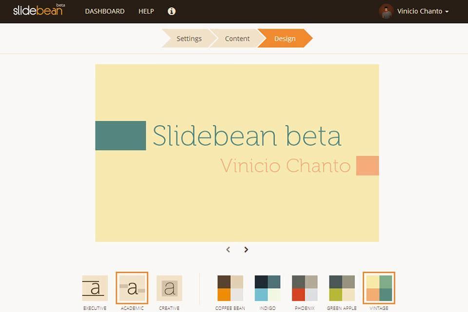 Chỉnh sửa bảng điều khiển của Slidebean