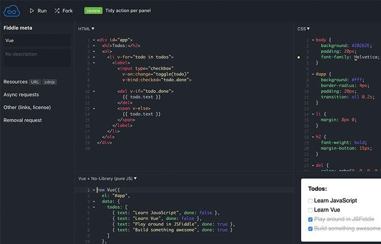 jsFiddle mã hóa HTML5 và JavaScript