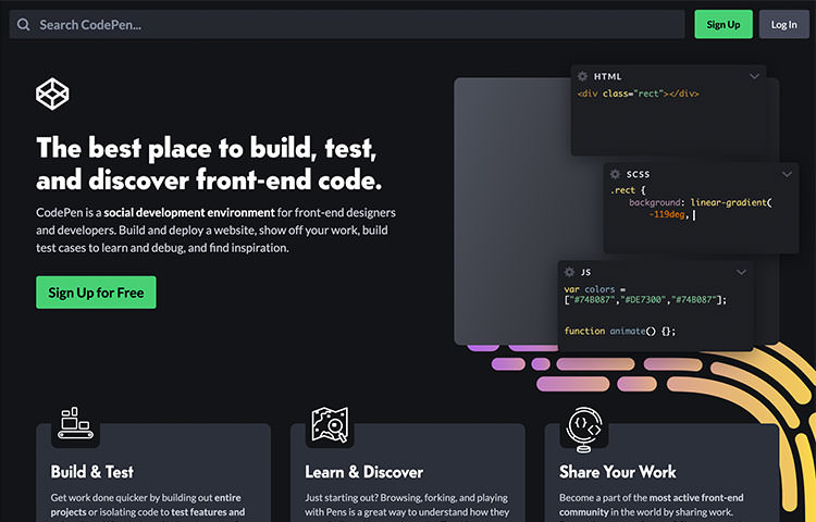 Trang chủ trang web CodePen