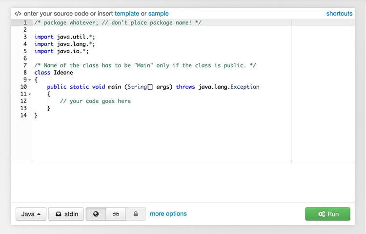 IDEOne Website chỉnh sửa mã trực tuyến đánh dấu và gỡ lỗi