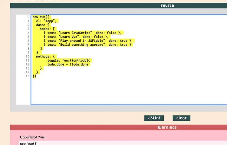 Bảng điều khiển gỡ lỗi mã JavaScript JSLint